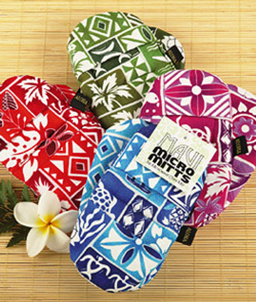 Maui Microwave Mitts. Small microwave oven mitts which comes in an assortment of colors featuring red, green, purple, or blue.