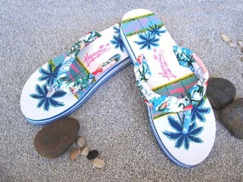 Palm Tree Sandal - white colored sandal with blue and green palm tree design