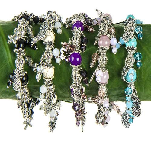 Solid Tone Stone Beads Charm Bracelet