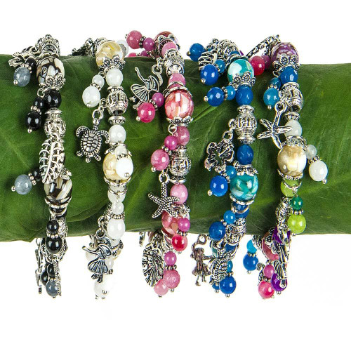 Multi-Tone & Mother of Pearl Stone Beads Charm Bracelet