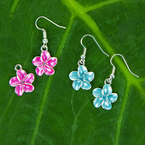 Single Plumeria Flower Earrings by Aloha 808 in pink and aqua