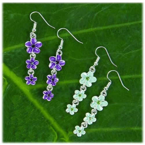 Triple Plumeria Flowers Earrings by Aloha 808 in purple and green