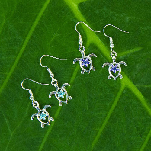 Honu with Plumeria Earrings by Aloha 808 in blue and purple