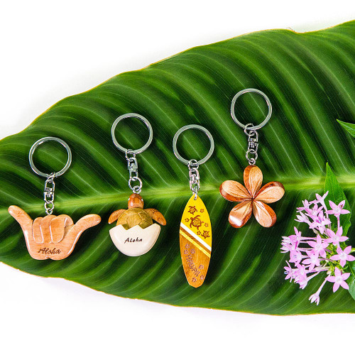 3D Wood Art Key Ring in in the following designs: Hangloose, Baby Turtle, Surfboard, Plumeria