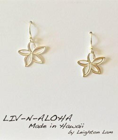 Liv-N-Aloha® Silver Plumeria Cut Out Dangle Earrings