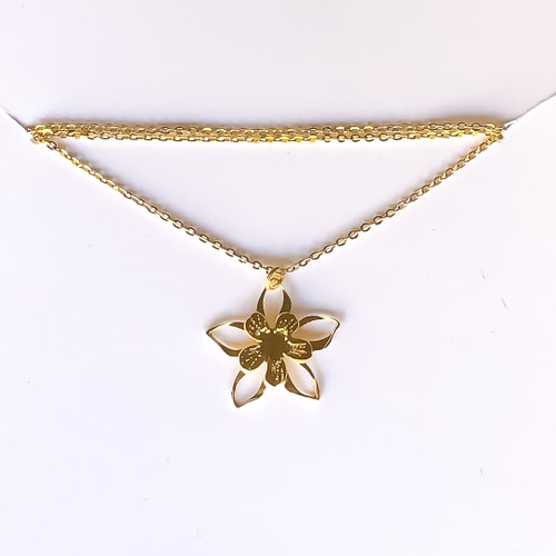 Liv-N-Aloha® Gold Columbine Flower Necklace