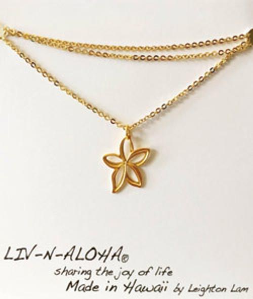 Liv-N-Aloha® Gold Chain Plumeria Cut Out Necklace
