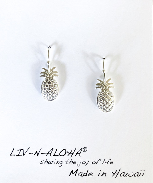 Liv-N-Aloha® Silver Pineapple Dangle Earrings