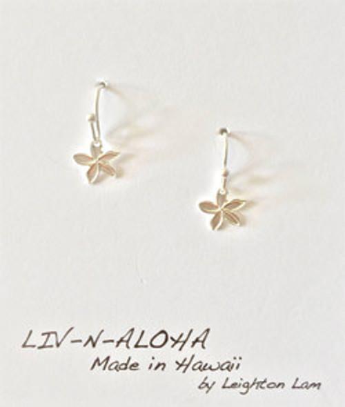 Liv-N-Aloha® Silver Mini Plumeria Solid Dangle Earrings