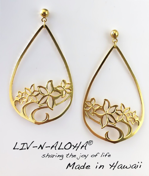Liv-N-Aloha® Gold Drop Plumeria Earrings