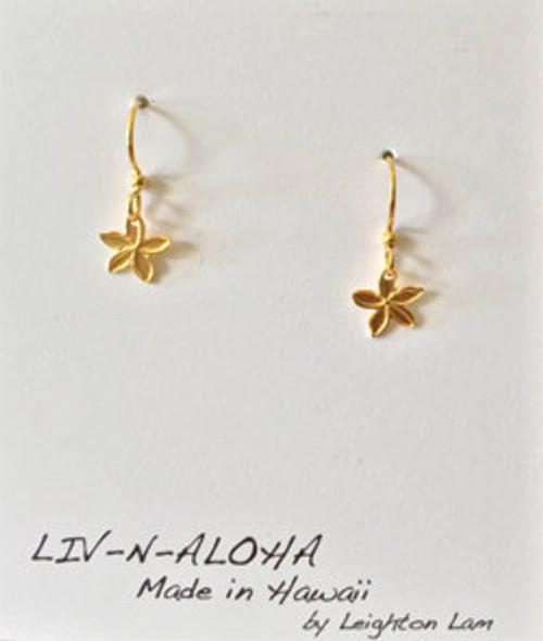 Liv-N-Aloha® Gold Mini Plumeria Solid Dangle Earrings