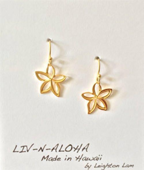 Liv-N-Aloha® Gold Plumeria Cut Out Dangle Earrings