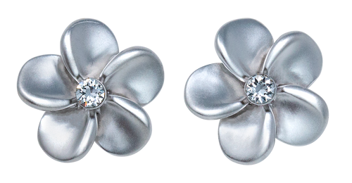 Island Crystal Medium Plumeria with Crystal Earrings with clear colored crystal
