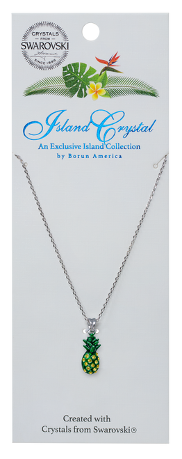 These beautiful charms are presented on rhodium-plated, nickel-free 18 inch necklace.  Featured in the pineapple design on the Island Crystal packaging.