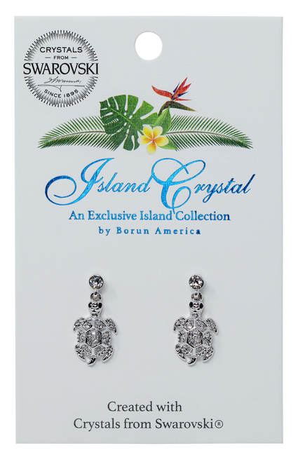 Charm Earring These beautiful charms are presented on rhodium-plated, nickel-free  stud earrings.  Featured in the Turtle Pave design on the Island Crystal packaging.