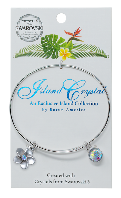 These beautiful charms are presented on rhodium-plated, nickel-free Bracelet. Featured in the plumeria charm with aurora colored crystal on the Island Collection packaging.