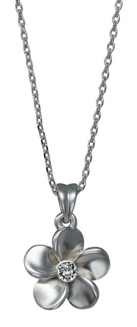 Island Crystal Large Plumeria with Crystal 18 inch Necklace with clear colored crystal