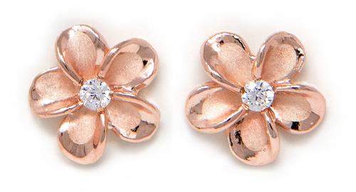 Rose Gold Plumeria Stud Earring