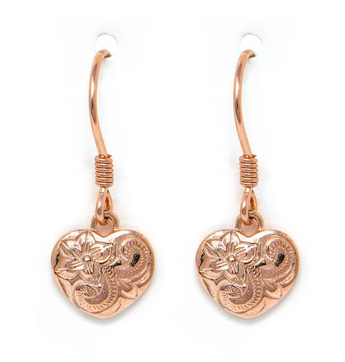 Rose Gold Heart Dangle Earring