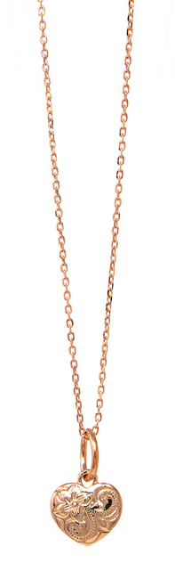 """Rose Gold 18"""" Necklace Heart Pendant"""