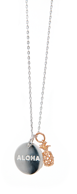 """Rose Gold 18"""" Necklace Round & Pineapple Pendant"""