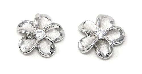 Sterling Silver Solid Plumeria Stud Earring