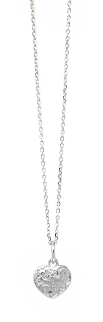 """Sterling Silver 18"""" Necklace Heart Pendant"""