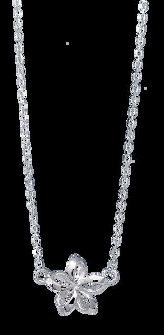 """Sterling Silver 18"""" Chain Necklace  Open Plumeria Pendant"""