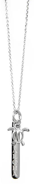 "Sterling Silver 18"" Necklace Bar & Honu Pendant"