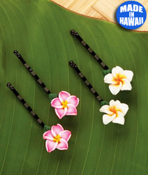 Olu Olu Plumeria Passion, Small Bobby Pin - Set of 2