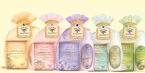Island Soap Company Organza Gift Set in order from left to right: Pineapple Passion Fruit, Plumeria Blossom, Pikake Jasmine, Creamy Coconut, and Mango/Coconut/Guava