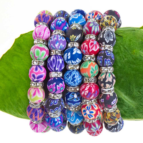 Olu Olu Jewelry - Beaded Floral Stretch Bracelet in the following colors: Pink, Purple, Blue, Red and Black