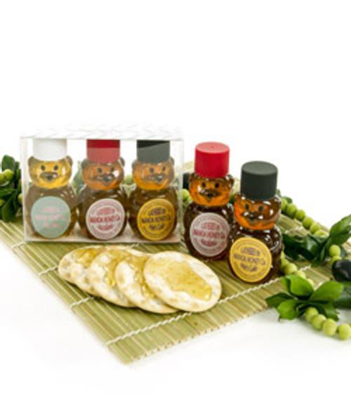 Mini Honey Bear Three Pack, available in Ohia Lehua Blossom, Macadamia Nut Blossom, and Pele's Gold flavorings