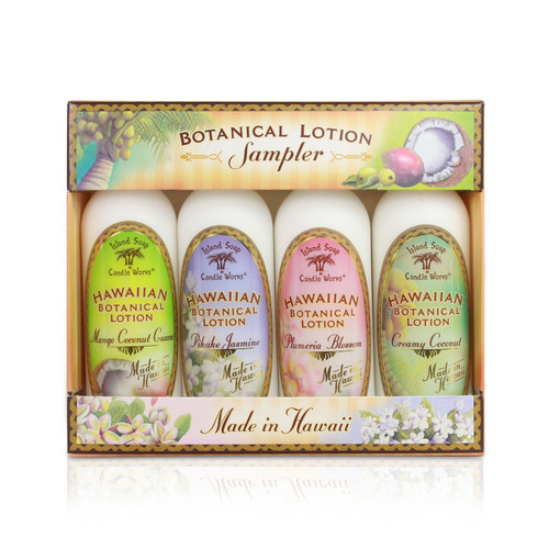Island Soap Company - Lotion 2oz Four Pack, which contains the following scents, from left to right: Mango/Coconut/Guava, Pikake Jasmine, Plumeria Blossom, and Creamy Coconut