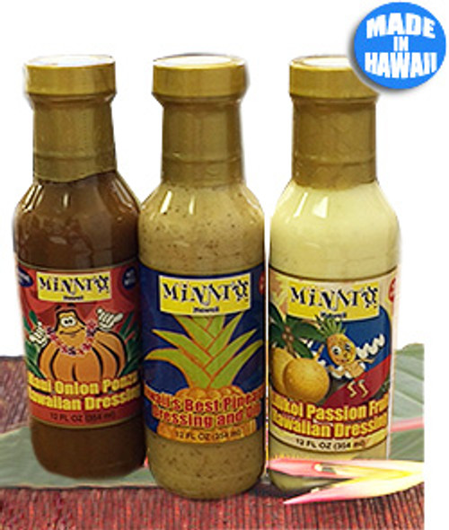 Minato Dressing & Sauce in order from left to right: Maui Onion Ponzu, Hawaiian Pineapple, and Lilikoi Passion Fruit