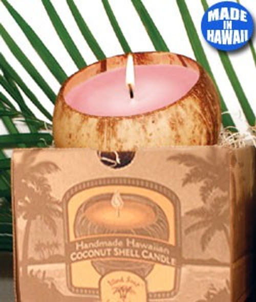 Handmade Large Coconut Shell Candle Made in Kauai by Island Soap & Candle Works