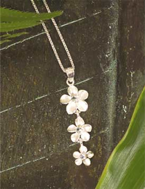 Ku'uipo Sterling Silver Plumeria Three Tiered Necklace
