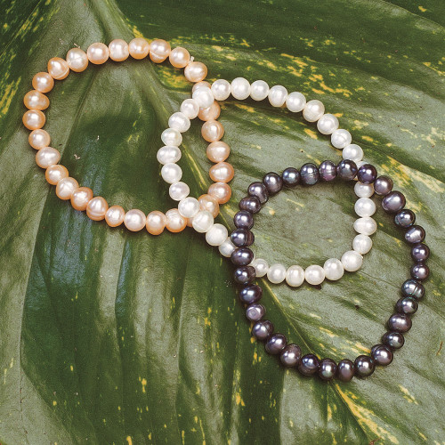 Genuine Freshwater Pearl Bracelets in coral, white, and black colors