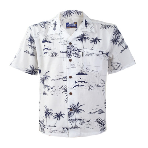 Men's Cotton Aloha Shirt - White Map