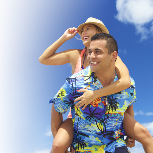 Male model wearing Men's Cotton Aloha Shirt - Blue Scenic