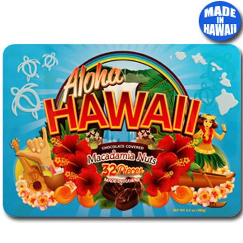 Aloha Hawaii Chocolate Covered Macadamia Nuts 6.5oz Tin