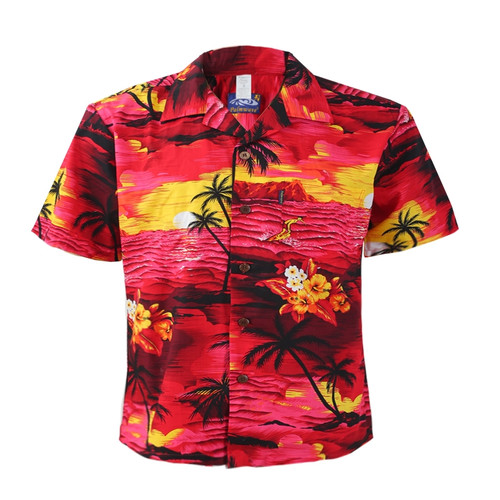 Men's Cotton Aloha Shirt - Red Scenic