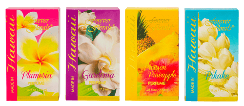 Forever Florals® Perfume Scents in order from left to right: Plumeria, Gardenia, Pineapple Passion, and Pikake