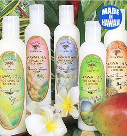 Island Soap Company Botanical Lotions 8oz in the following scents from left to right: Creamy Coconut, Plumeria Blossom, Pikake Jasmine, Mango/Guava/Coconut, and Pineapple Passionfruit