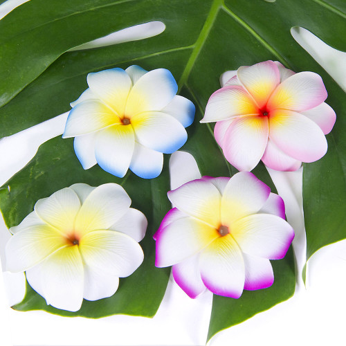 Medium Double Plumeria Clip by Olu Olu in white, blue, pink, and purple