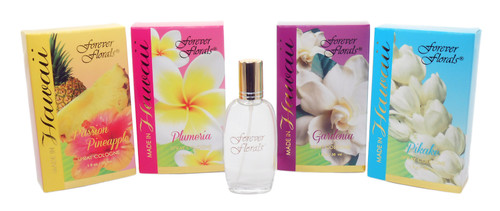 Forever Florals® Spray Cologne Scents in order from left to right: Pineapple Passion, Plumeria, Gardenia, and Pikake