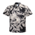 Men's Cotton Aloha Shirt in Black with Cream Floral design