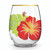 Holiday Stemless Wine Glass in floral monstera design