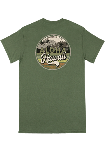 Crew Neck Tee - Palm Map in Green Color