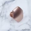 "Century, Modern Geo, 1 3/8"" Solid brass Hexagon knob, Satin Rose Gold side view"